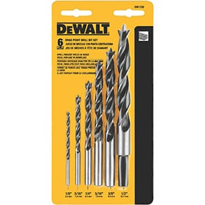DeWalt Drill Bit Set DW1720, Brad Point, 6-Piece,Black