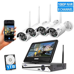 Monitor Wireless Security Camera System, Remote View, 1TB Hard Drive
