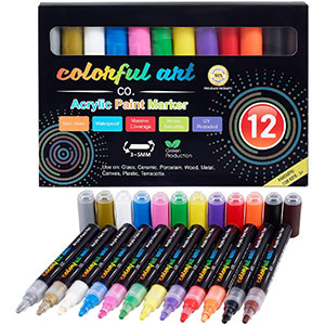 Permanent Water-Based Waterproof Paint Marker Pens with 3-5mm Reversible Tip